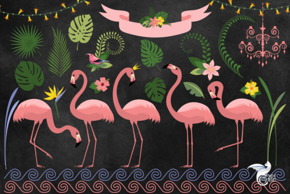 Print on Demand: Flamingo Paradise Clipart Graphic Illustrations By Digital Curio - Image 2