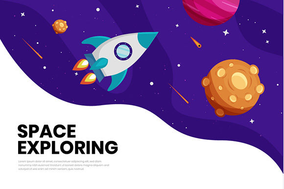 Flat Galaxy Space Colorful Background Graphic Backgrounds By apple