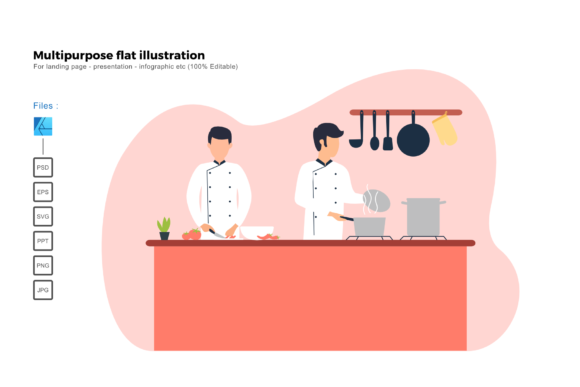 Download Free Flat Illustration Cooking Graphic By Rivatxfz Creative Fabrica for Cricut Explore, Silhouette and other cutting machines.
