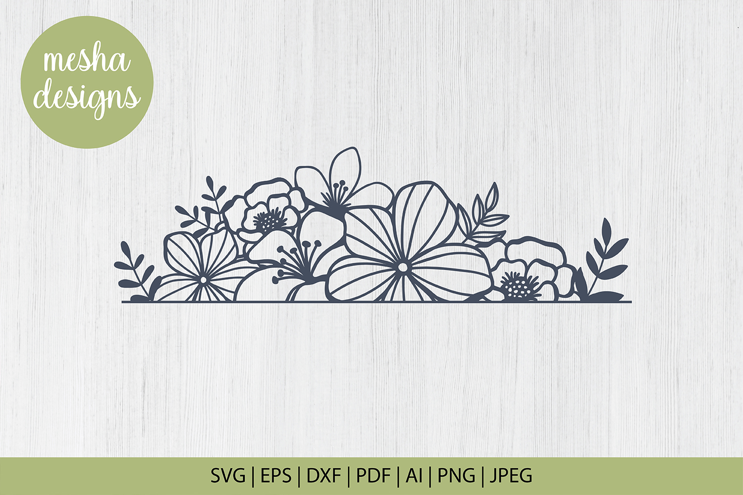 Download Free Floral Border Cut File Graphic By Diycuttingfiles Creative Fabrica for Cricut Explore, Silhouette and other cutting machines.