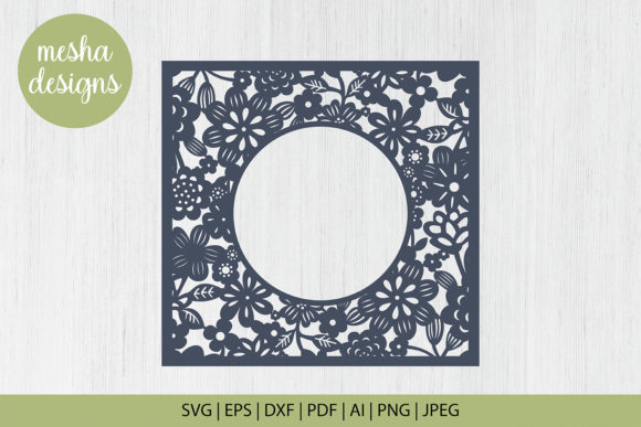 Download Free Floral Frame Paper Cut File Graphic By Diycuttingfiles for Cricut Explore, Silhouette and other cutting machines.