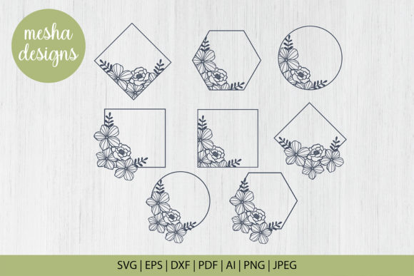 Download Free Floral Frames Cut File Graphic By Diycuttingfiles Creative Fabrica for Cricut Explore, Silhouette and other cutting machines.
