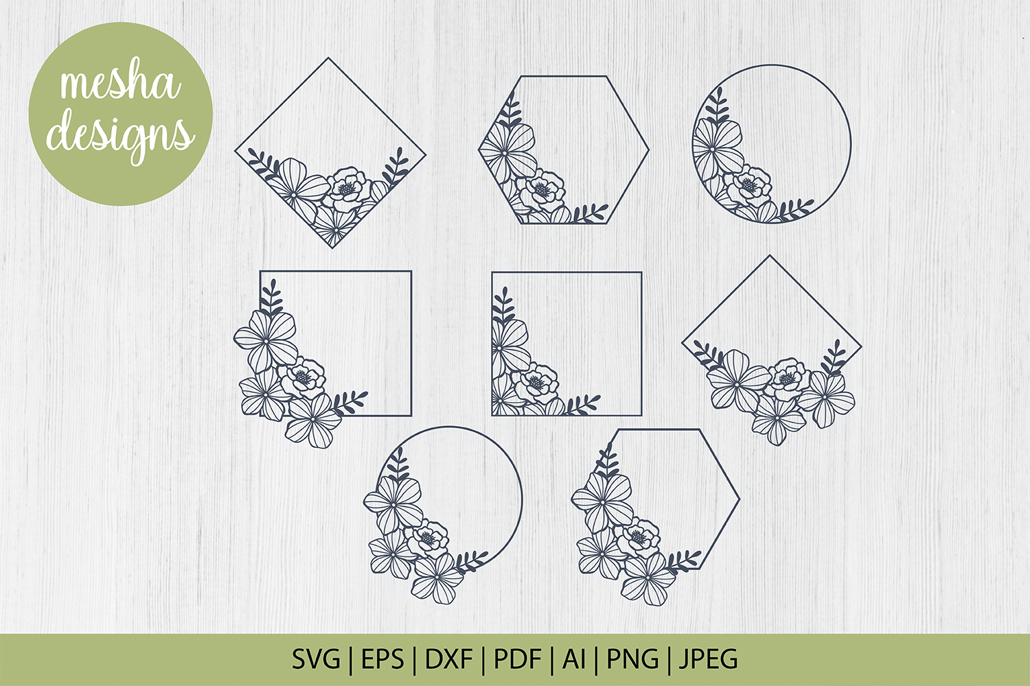 Floral Frames Cut File Graphic By Diycuttingfiles Creative Fabrica