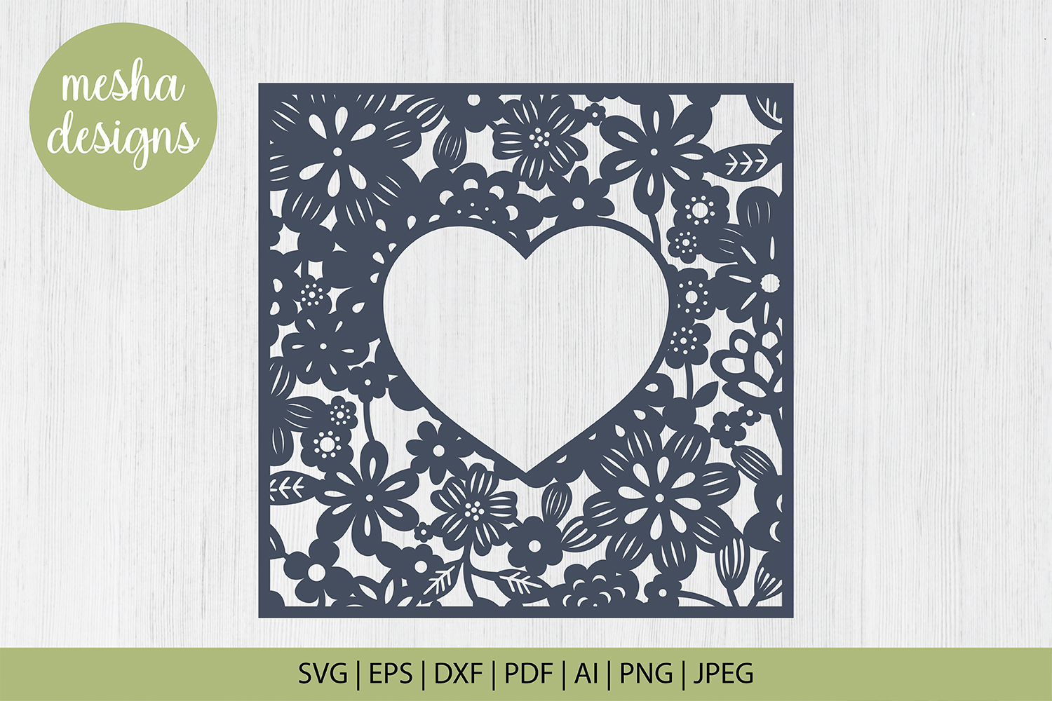 Download Free Floral Heart Frame Paper Cut Graphic By Diycuttingfiles for Cricut Explore, Silhouette and other cutting machines.
