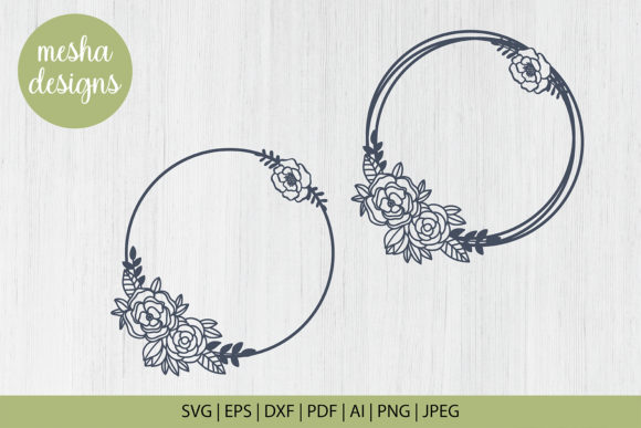 Download Free Floral Wreath Monogram Cut File Graphic By Diycuttingfiles for Cricut Explore, Silhouette and other cutting machines.