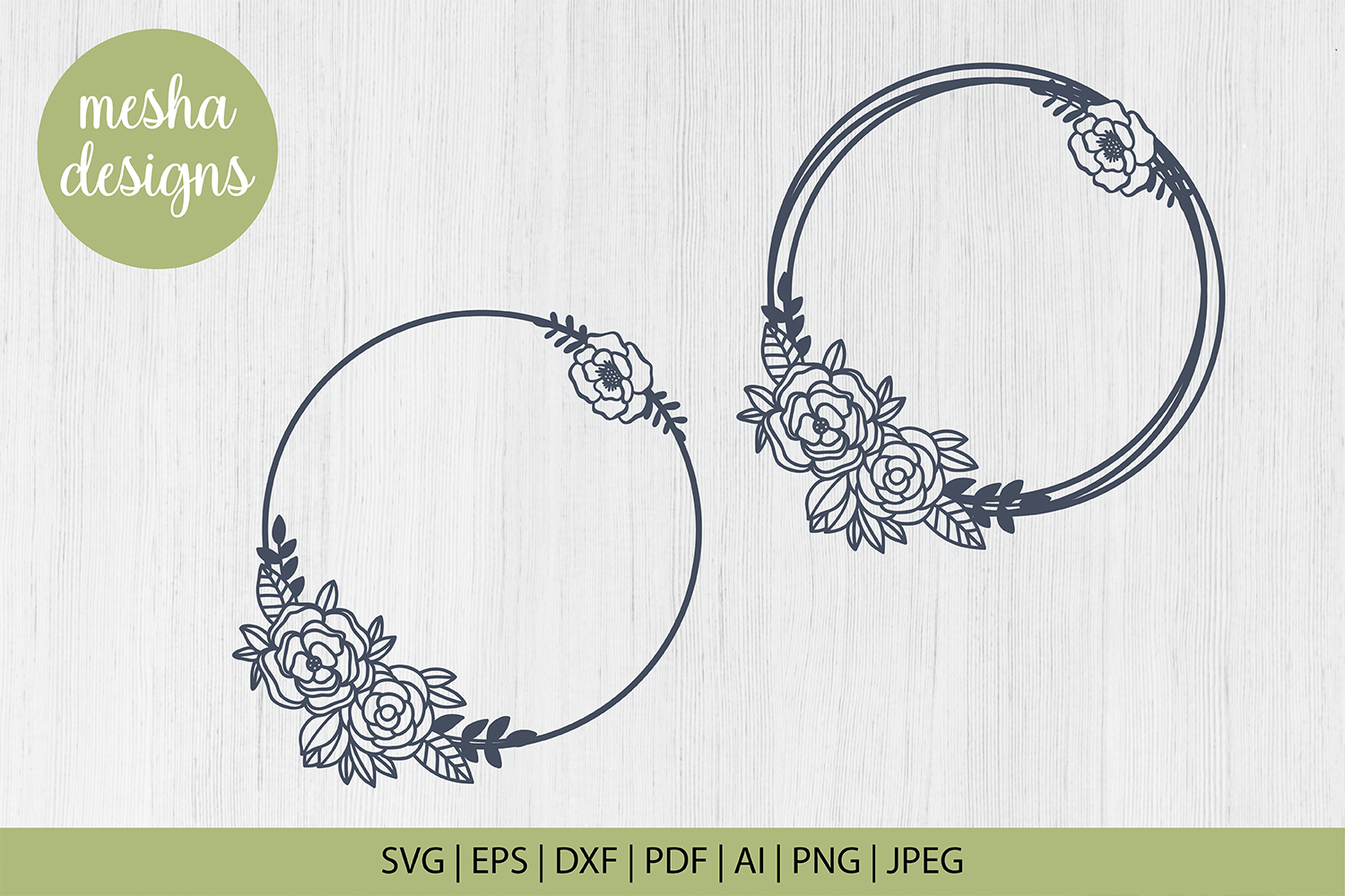 Floral Wreath Monogram Cut File Graphic By Diycuttingfiles
