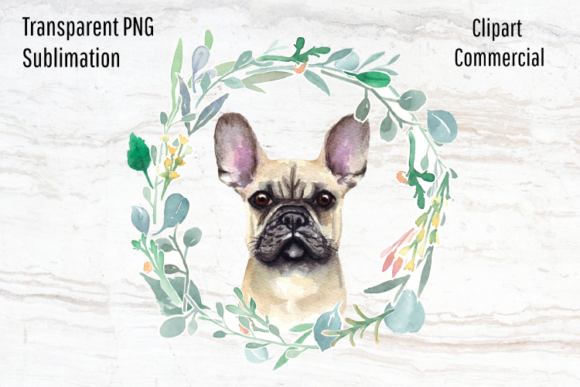 Print on Demand: French Bulldog, Watercolor Wreath   Graphic Illustrations By Blueberry Jam Design