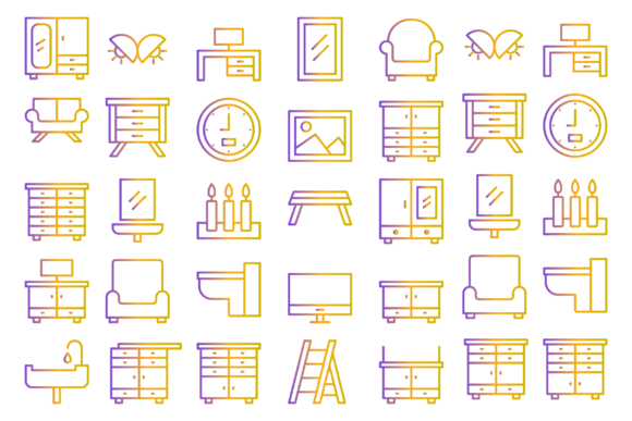 Furniture Indoor and Household Icons Graphic Icons By Designvector10