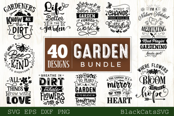 Garden Bundle 40 Designs Graphic Crafts By BlackCatsMedia