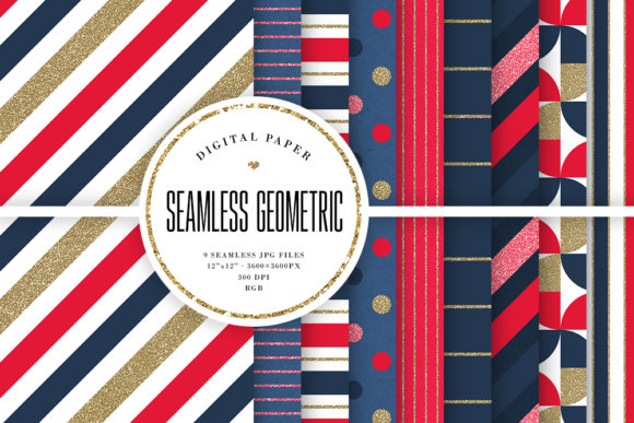 Print on Demand: Geometric Seamless Patterns - Blue & Red Graphic Backgrounds By Sabina Leja