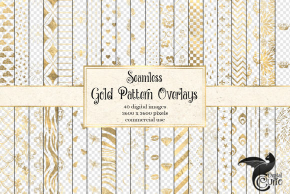 Print on Demand: Gold Pattern Overlays Gráfico Ilustraciones Por Digital Curio
