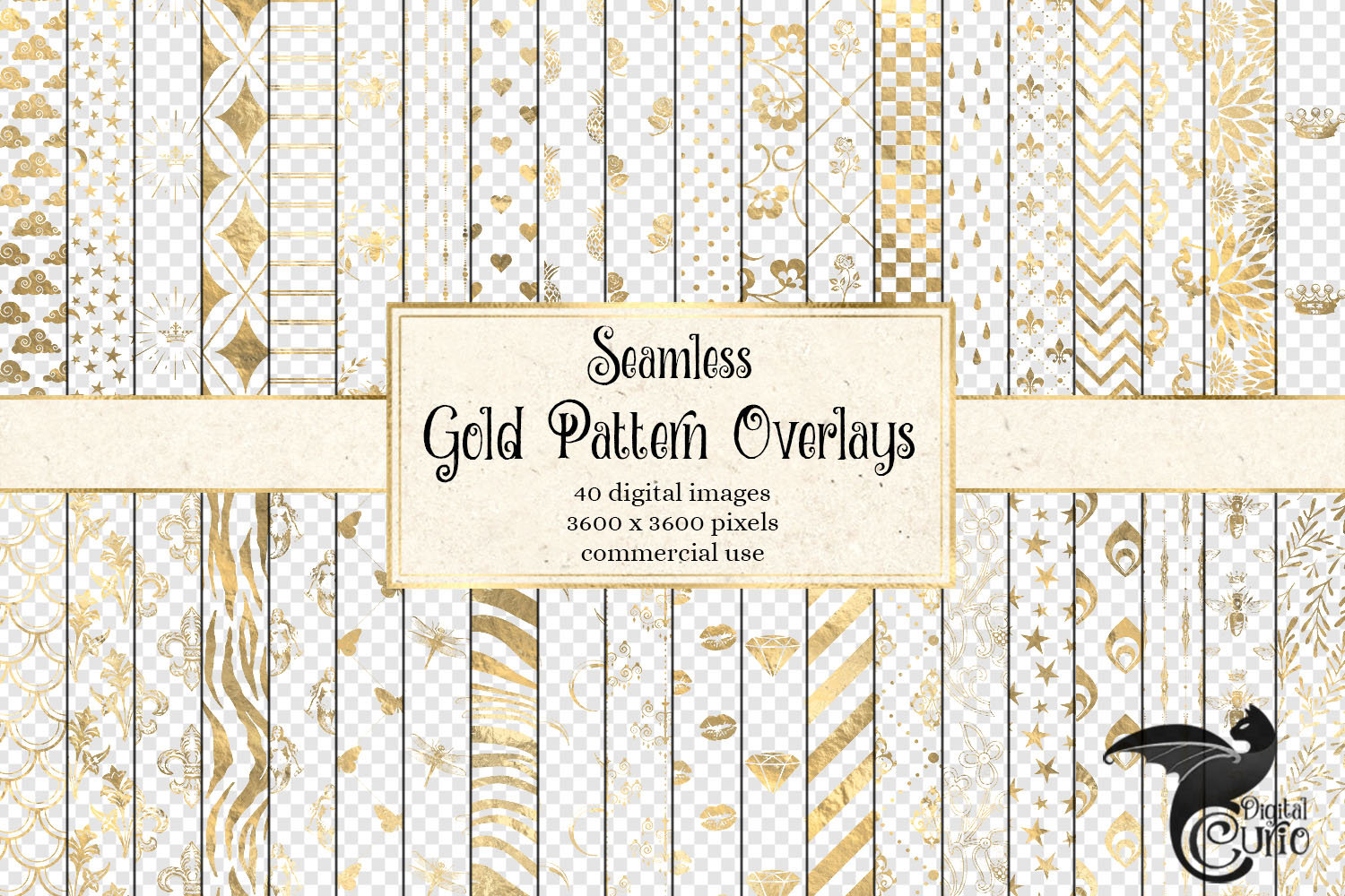 Download Free Gold Pattern Overlays Graphic By Digital Curio Creative Fabrica for Cricut Explore, Silhouette and other cutting machines.