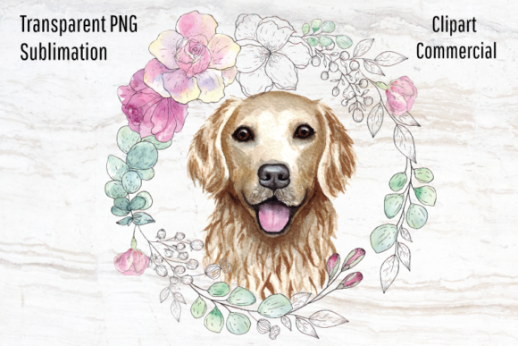 Print on Demand: Golden Retriever, Watercolor Wreath Graphic Illustrations By Blueberry Jam Design