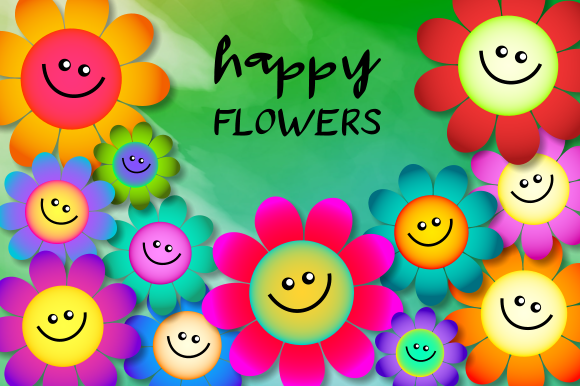 Print on Demand: Happy Flowers Spring Daisy Plant Clipart Graphic Illustrations By Prawny