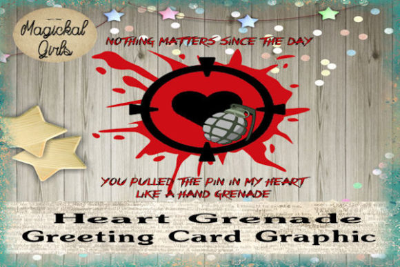 Download Free Heart Grenade Card Graphic Graphic By Magickal Girls for Cricut Explore, Silhouette and other cutting machines.