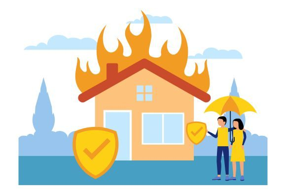 Download Free House On Fire Insurance Flat Graphic By Redvy Creative for Cricut Explore, Silhouette and other cutting machines.