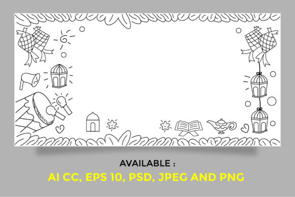 Download Free Islamic Doodle Banner Graphic By Griyolabs Creative Fabrica for Cricut Explore, Silhouette and other cutting machines.