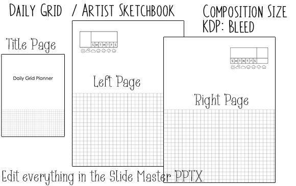 Print on Demand: KDP Daily Grid Artist Sketchbook Planner Graphic KDP Interiors By Kathryn Maloney