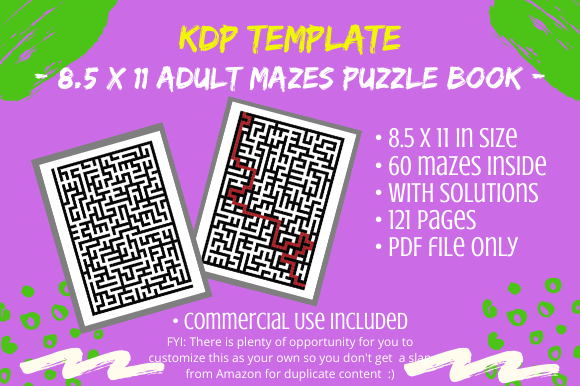 Download Free Kdp 60 Adult Mazes Puzzle Book Graphic By Tomboy Designs for Cricut Explore, Silhouette and other cutting machines.