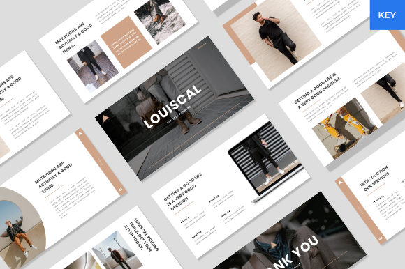 Download Free Louiscal Creative Keynote Template Graphic By Beadylab for Cricut Explore, Silhouette and other cutting machines.