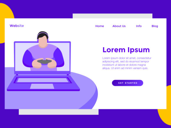 Download Free Landing Page Game Laptop Boy Purple Graphic By Archshape SVG Cut Files