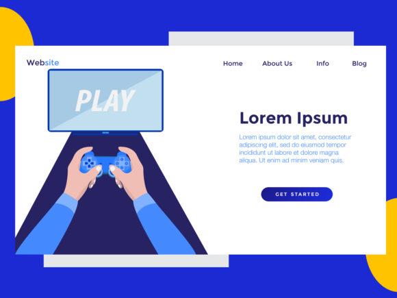 Download Free Landing Page Game Monitor Blue Graphic By Archshape Creative for Cricut Explore, Silhouette and other cutting machines.