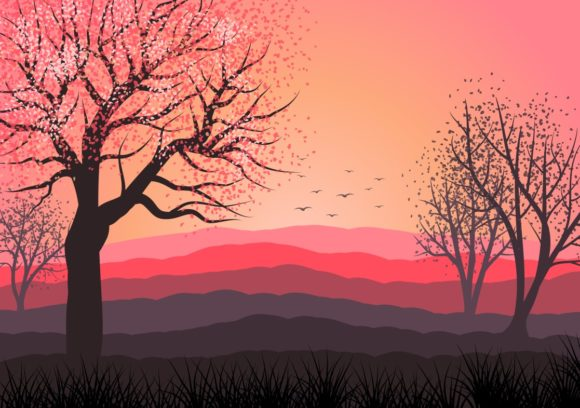 Landscape Illustration Backgrounds Graphic Backgrounds By americodealmeida