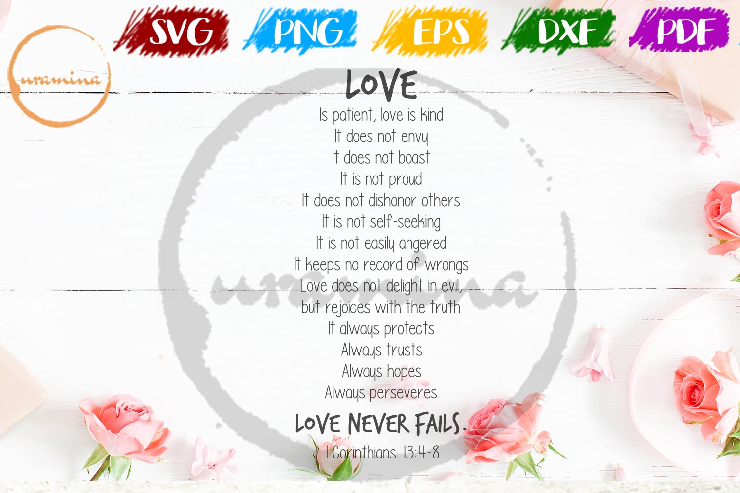 Download Free Love Is Patient Love Is Kind It Doesn T Graphic By Uramina for Cricut Explore, Silhouette and other cutting machines.
