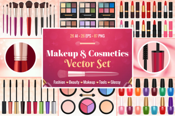 Makeup & Cosmetics Vector Set Graphic Illustrations By pixaroma