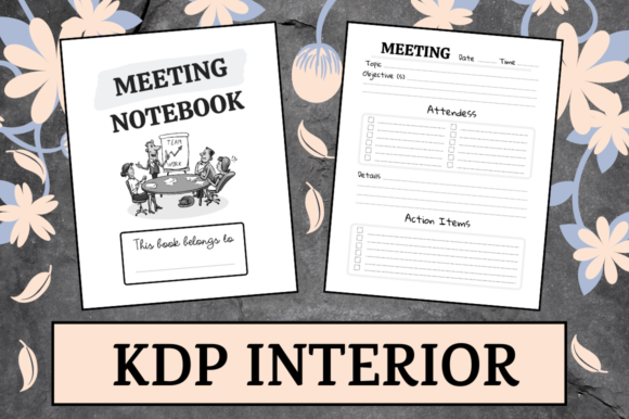 Print on Demand: Meeting Notebook | KDP Interior Graphic KDP Interiors By KDP Mastermind