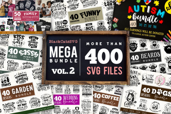 Mega Bundle 400 Designs Vol 2 Graphic Crafts By BlackCatsMedia