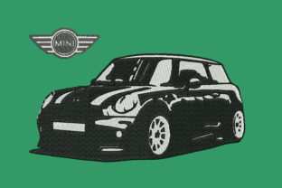 Print on Demand: Mini Cooper Car Transportation Embroidery Design By Embroidery Shelter