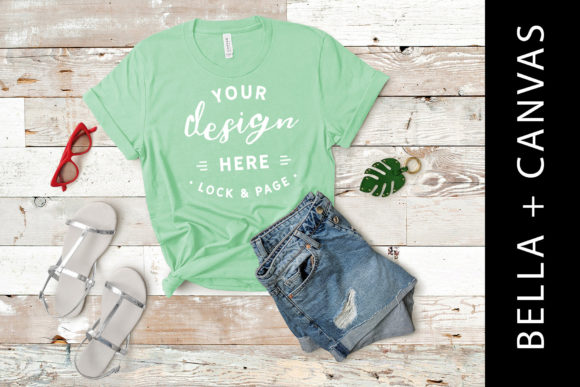 Download Free Mint Bella Canvas 3001 T Shirt Mockup Graphic By Lockandpage for Cricut Explore, Silhouette and other cutting machines.