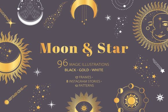 Moon & Star Magic Celestial Pack Grafik Illustrationen von Alisovna