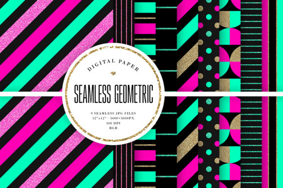 Download Free Neon Glitter Geometric Patterns Graphic By Sabina Leja for Cricut Explore, Silhouette and other cutting machines.