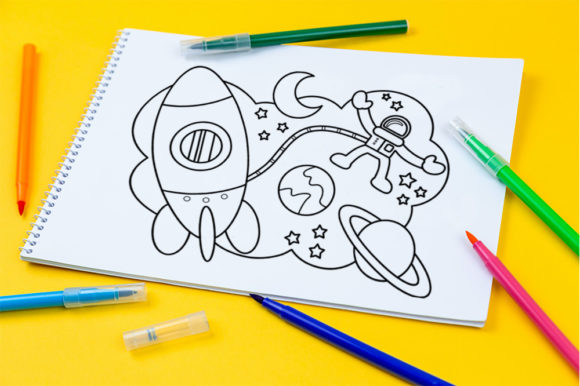 Download Free Outer Space Theme Coloring Page For Kids Graphic By Doridodesign for Cricut Explore, Silhouette and other cutting machines.