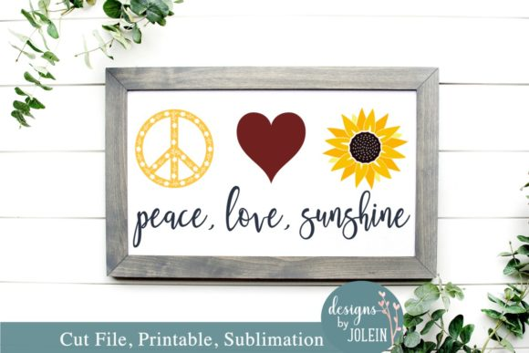Download Free Peace Love Sunshine Graphic By Designs By Jolein Creative for Cricut Explore, Silhouette and other cutting machines.