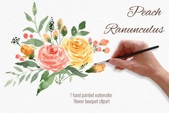 Peach Flowers Bouquet. Ranunculus   Graphic Illustrations By RedDotsHouse