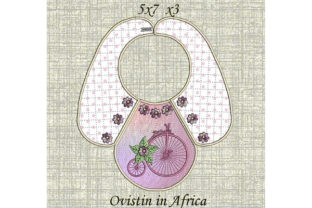 Pink Bicycle Baby Bib for Small Hoops Nursery Embroidery Design By Ovistin in Africa