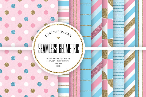 Print on Demand: Pink & Blue Seamless Geometric Patterns Graphic Patterns By Sabina Leja