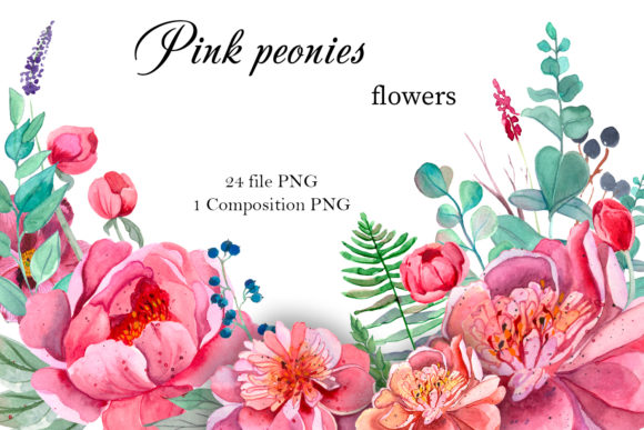 Print on Demand: Pink Peonies Flowers Clipart Graphic Illustrations By ElenaZlataArt