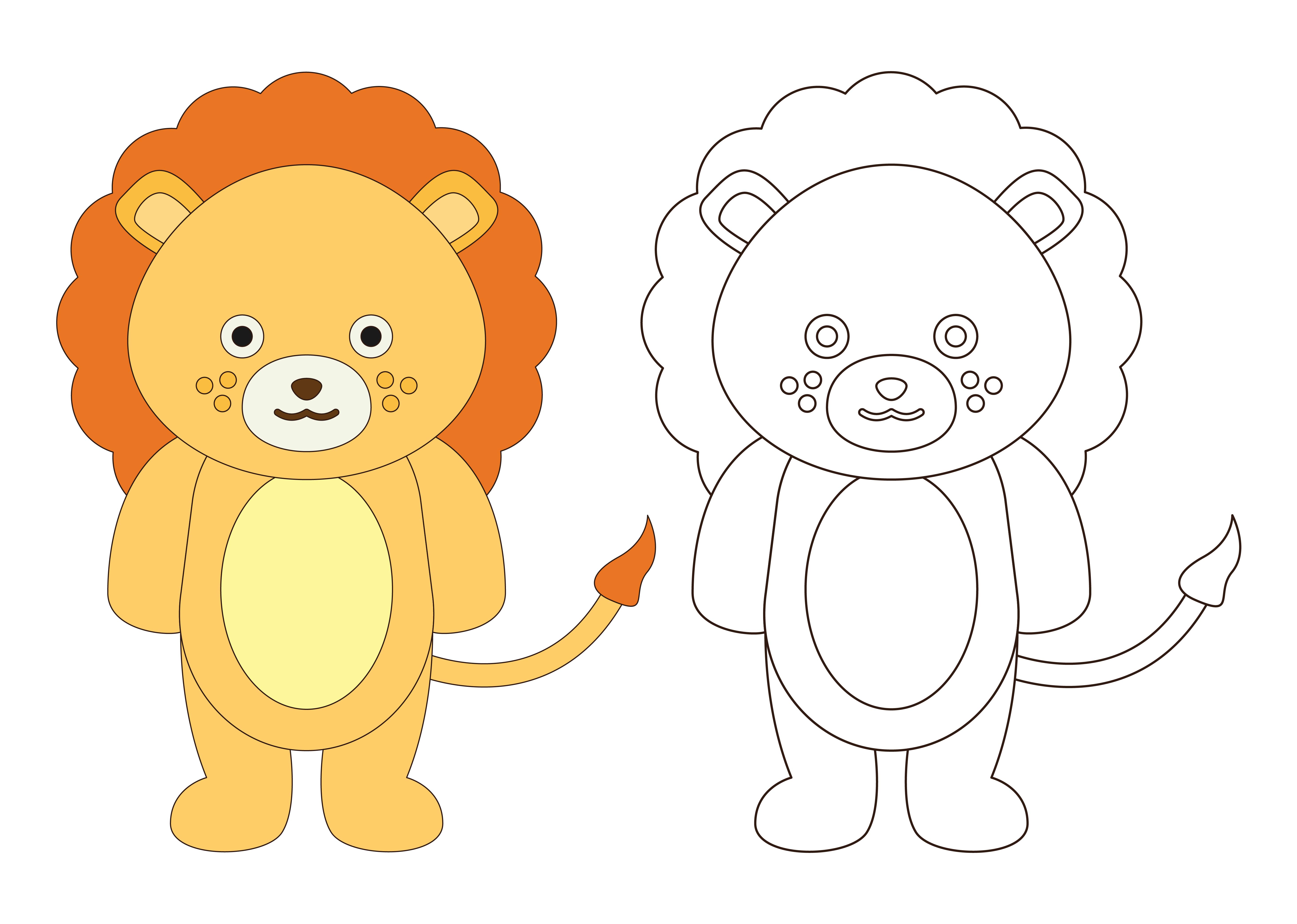Download Free Pre School Coloring Lion Graphic By Studioisamu Creative Fabrica for Cricut Explore, Silhouette and other cutting machines.