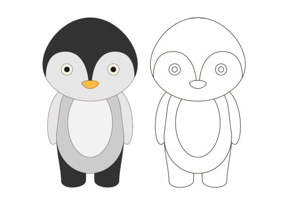 Download Free Pre School Coloring Penguin Graphic By Studioisamu Creative for Cricut Explore, Silhouette and other cutting machines.