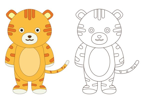Print on Demand: Pre School Coloring Tiger Graphic Illustrations By studioisamu