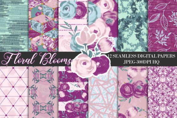 Purple Flowers Digital Seamless Papers Graphic Backgrounds By Lu Designs
