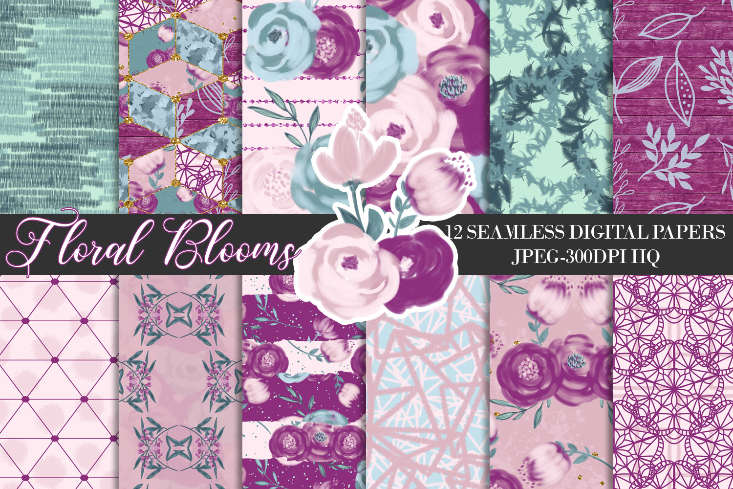 Download Free Purple Flowers Digital Seamless Papers Graphic By Lu Designs for Cricut Explore, Silhouette and other cutting machines.