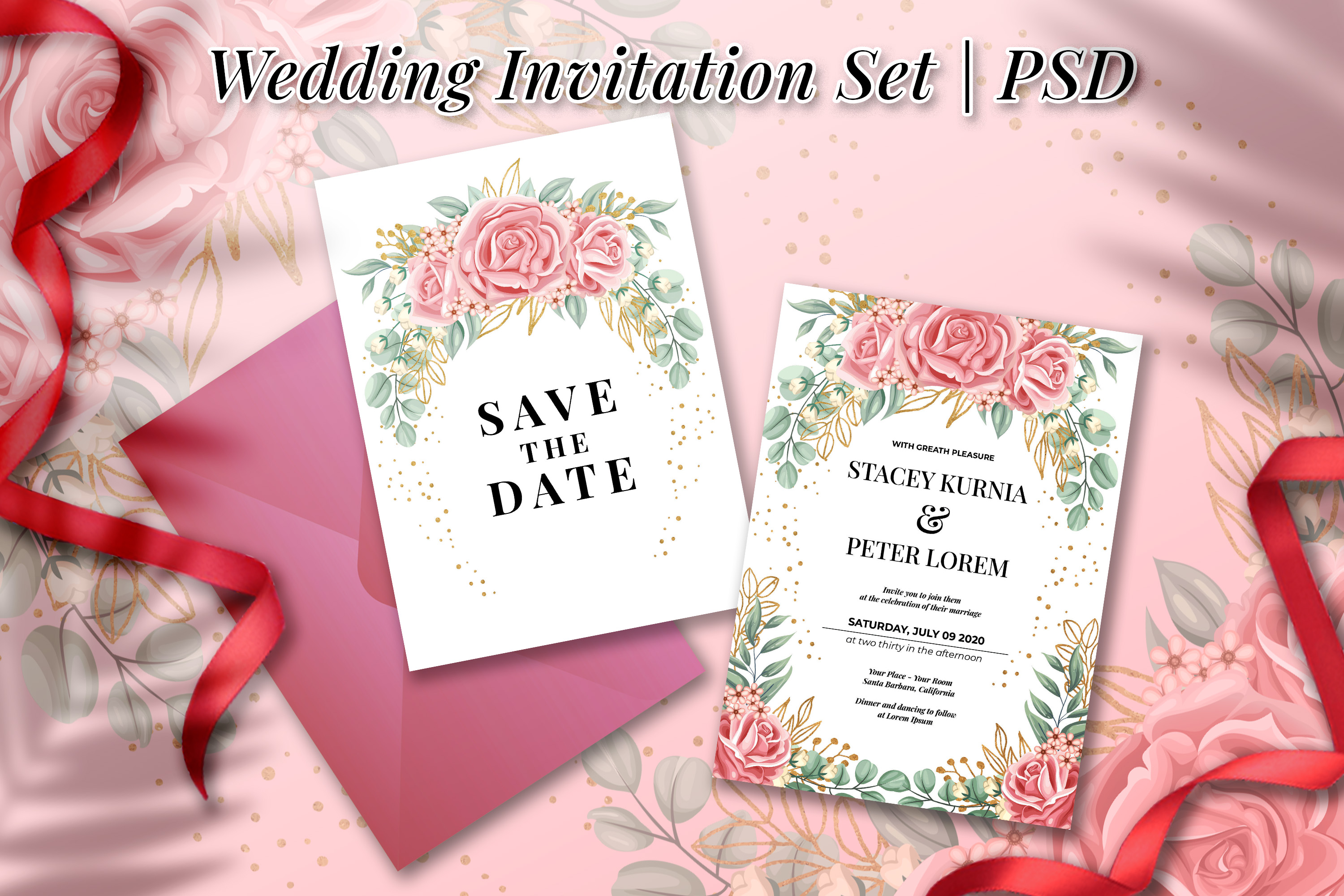 Download Free Rose Pink Wedding Invitation Template Graphic By Orchidart for Cricut Explore, Silhouette and other cutting machines.