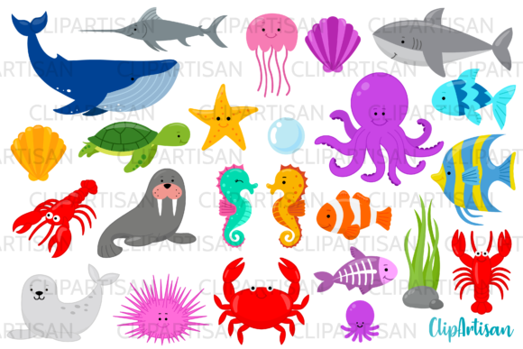 Sea Creatures Clipart Graphic Illustrations By ClipArtisan