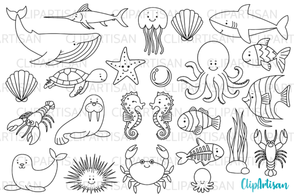 Download Free Sea Creatures Digital Stamps Graphic By Clipartisan Creative for Cricut Explore, Silhouette and other cutting machines.