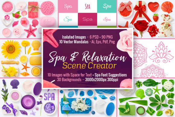 Spa & Relaxation Scene Creator Graphic Objects By pixaroma